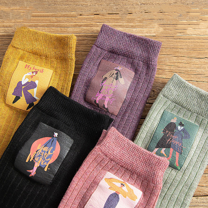 Cartoon Character Retro Print Socks Kawaii Fashion Girl Art Socks Street Style Hip Hop Skateboard Personality Woman Cool Socks