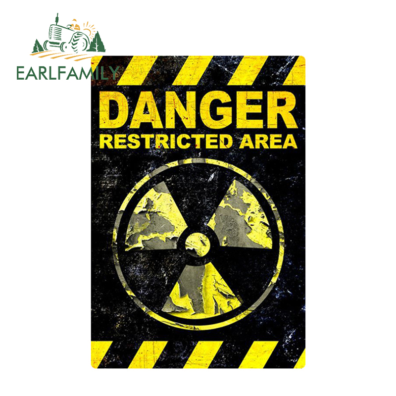 EARLFAMILY 12cm X 8.2cm DANGER Restricted Area Funny Car Stickers GRUNGE FS980 Radiation Sign Vinyl Reflective Decal