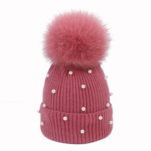 Pearl Wool Beanies Women Real Fox Fur Pom Poms Fashion  Warm Knitted Hat Girls Female Beanie Cap Pompom Winter Hats for Women