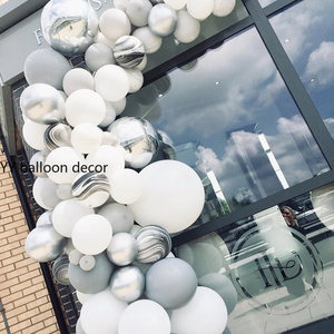 Image 3 - 143pcs DIY Balloons Garland Arch White Grey Agate Black Metal Silver Marble Baby Shower Birthday Party Wedding Decor