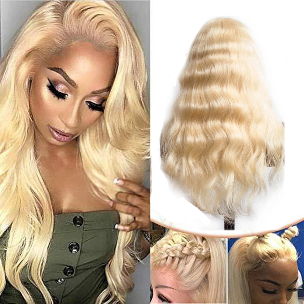 Brazilian 4*4 Lace Closure Wig 613 Honey Blonde Human Hair Wigs Body Wave Remy For Black White Women Pre Plucked With Baby Hair