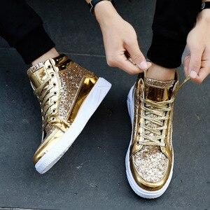 Image 3 - ใหม่ 2019 ใหม่ลำลองผู้หญิงรองเท้าฤดูใบไม้ผลิฤดูใบไม้ร่วง PU Bling แฟชั่น Sliver รองเท้าผ้าใบสตรี LACE UP ผู้หญิงรองเท้ารองเท้าขนาดใหญ่