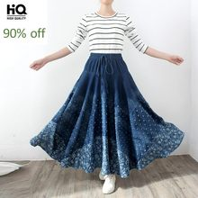 Free Shipping 2020 Long A-Line Maxi Skirts Print Women Belt Elastic Waist Spring Autumn Denim Jean Skirt Lady Blue Pleated Skirt(China)
