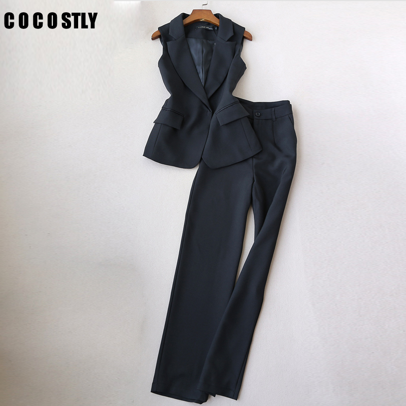 2020 Spring Autumn Fashion Suit For Women Small Fragrance Sleeveless Pants Suit Vest+ Pant Office Lady