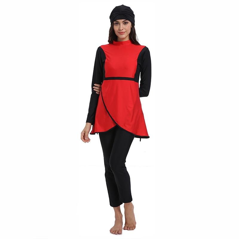 Image 3 - HAOFAN Muslim swimwear Women Middle East Islamic Traditional  Hijab Full Cover Burkinis Red Swimsuit Bathing Suit For Lady 4XLMuslim  Swimwear