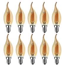 Grensk 4w pode ser escurecido led filamento vela bulbo 2200k e14 base chama forma curva ponta 25w incandescente equivalente c35