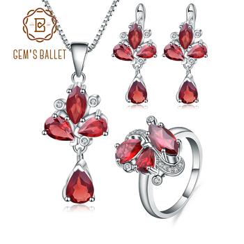 GEM'S BALLET Natural Red Garnet Gemstone Butterfly Jewelry Set 925 Sterling Silver Ring Earrings Pendant Sets For Women Wedding - discount item 40% OFF Jewelry & Accessories