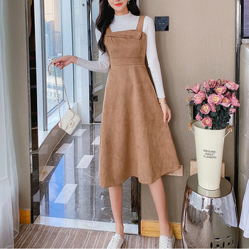 Autumn New arrival Fashion Women Two Piece Set Casual Turtleneck Solid Knitted Tops + Button Suede strap Dress Suits 1