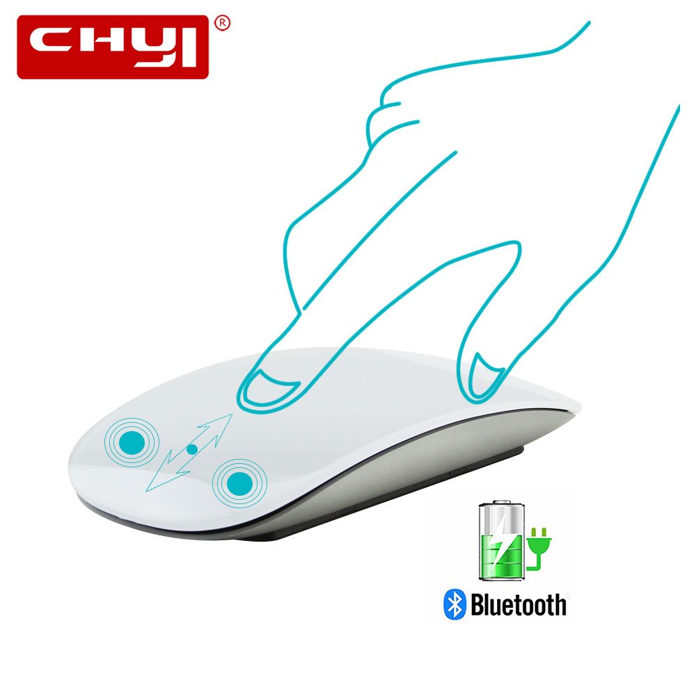 CHYI Bluetooth 5.0 Magic Wireless Mouse Rechargeable Touch Ultra Thin Laser Mice 1600DPI Quiet Computer Mause For Apple Macbook