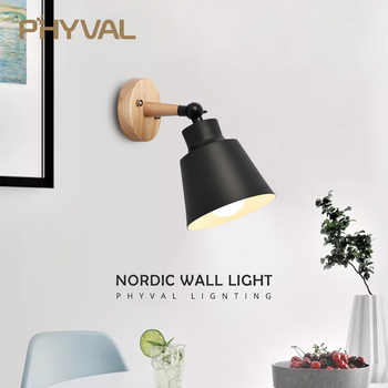 PHYVAL Wood Lamp Bedroom 10mm Wooden base Wall Lamp With Plug Macaron Modern Wall Sconce For Liviing Room