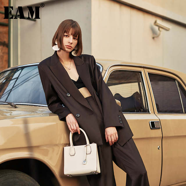 [EAM]  Women Brief Double Breasted Big Size Blazer New Lapel Long Sleeve Loose Fit  Jacket Fashion Tide Spring Autumn 2020 1H837