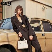 [EAM] 여성 브리프 더블 브레스트 빅 사이즈 블레이저 새로운 옷깃 긴 소매 느슨한 맞는 자켓 패션 조수 봄 가을 2020 1H837