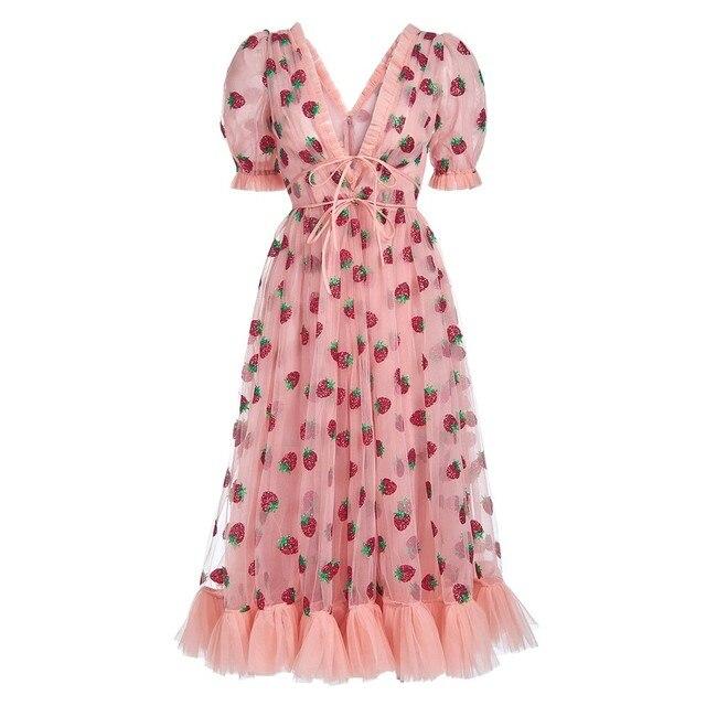Fashion summer dress Women Casual Sexy satin dress Strawberry Sweet Yarn V-Neck Pleated Long Mesh dress ropa mujer