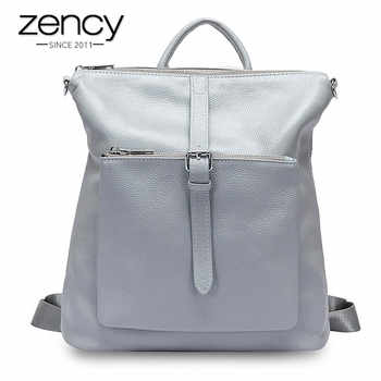 Zency 100% Genuine Leather Soft Skin Fashion Women Backpack Black Travel Bags Simple Lady Knapsack Preppy Style Girl\'s Schoolbag - Category 🛒 Luggage & Bags