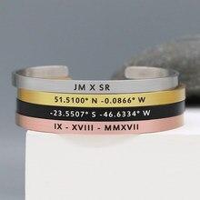 Moda personalizada 5mm escovado aço inoxidável personalizado manguito pulseira coordenada jóias presente para amantes do homem e da mulher