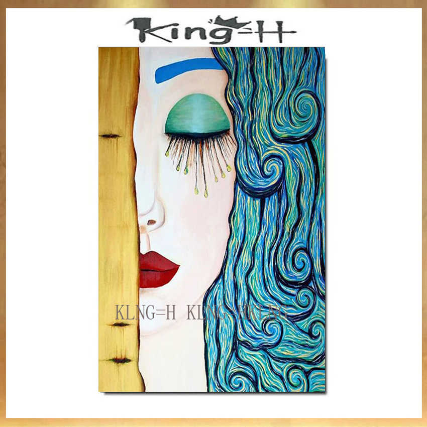 Gustav Klimt Tear Abstract Oil Painting on Canvas Posters and Prints Art