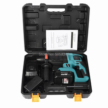 Hammer-Drill Battery Electric-Hammer Cordless Rotary with Two-18 Volt. Rechargeable