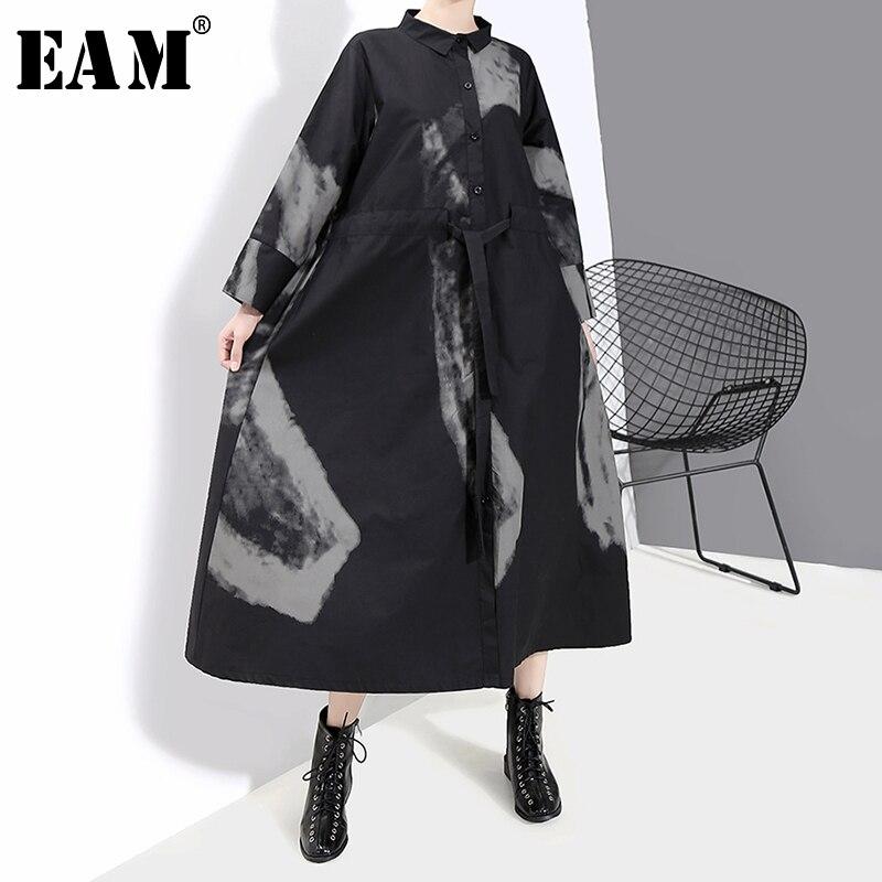 [EAM] женское черное винтажное платье с принтом, хит цвета, новинка, воротник с отворотом, длинный рукав, свободный крой, мода, весна-осень 2020, ...