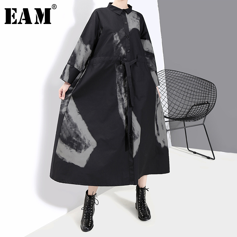 [EAM] Women Black Print Hit Color Vintage Dress New Lapel Neck Long Sleeve Loose Fit Fashion Tide Spring Autumn 2020 1A924
