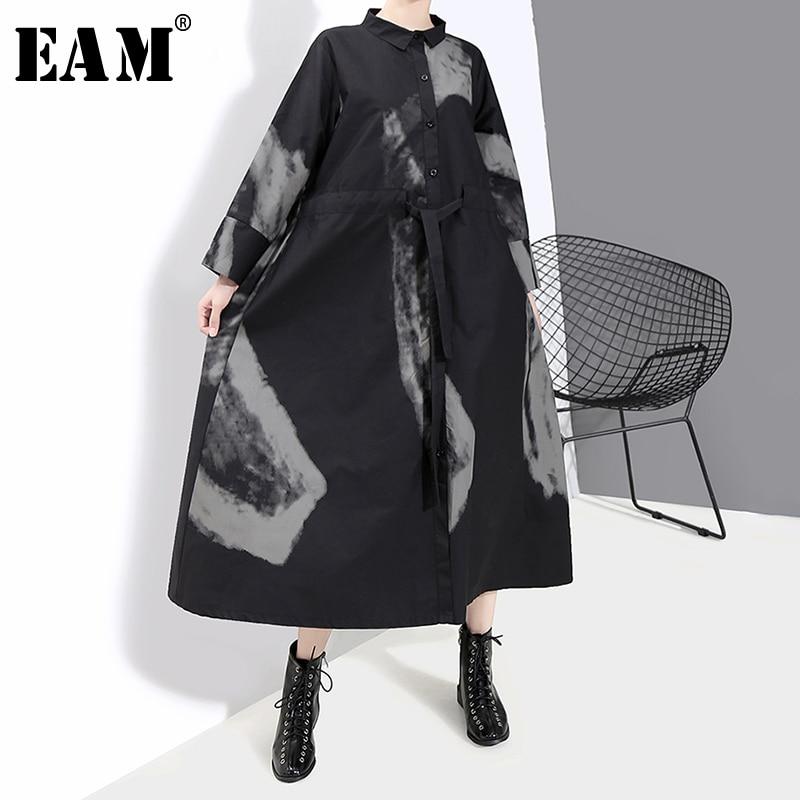 [EAM] Women Black Print Hit Color Vintage Dress New Lapel Neck Long Sleeve Loose Fit Fashion Tide Spring Autumn 2019 1A924
