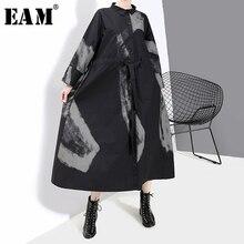 [EAM] النساء السود طباعة ضرب اللون خمر ثوب جديد طية صدر السترة الرقبة كم طويل فضفاض صالح الأزياء المد الربيع الخريف 2020 1A924