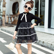 купить Girls Dress Bow Lace Princess 2019 Fashion Children Clothing Party Fluffy Cake Sequin Dress Kids Baby Long Sleeve Dress Clothes по цене 936.59 рублей