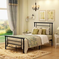 JURMERRY Metal Bed Frame Platform with Headboard Footboard Steel Slat Support Box Spring Replacement Bedroom Furniture Bed Queen