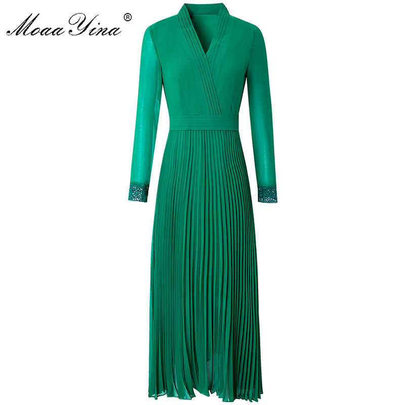 MoaaYina Fashion Runway Dress Spring Summer Women's Dress V-neck Long Sleeve Solid Color Elegant Pleated Dresses
