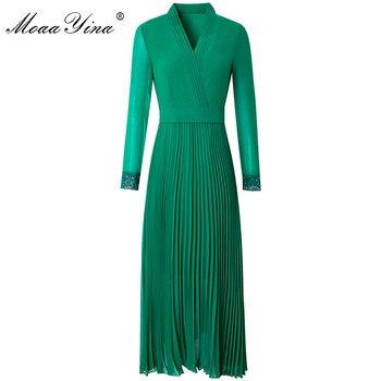 MoaaYina Fashion Runway dress Spring Summer Women's Dress V-neck Long sleeve Solid color Elegant Pleated Dresses elegant style v neck side pleated design long sleeve cotton blend dress for women
