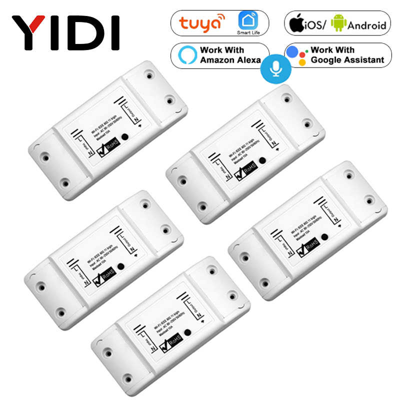 Wifi Smart Light Switch 2/3/5/6/8/10 PCS Diy Breaker Module  Basic Smart Home Wireless Remote Control Work Alexa Google Home