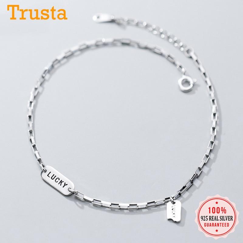 Trustdavis Minimalist 925 Sterling Silver Fashion CLetter Lucky Anklets For Women Valentine's Day Birthday Gift Jewelry DA732