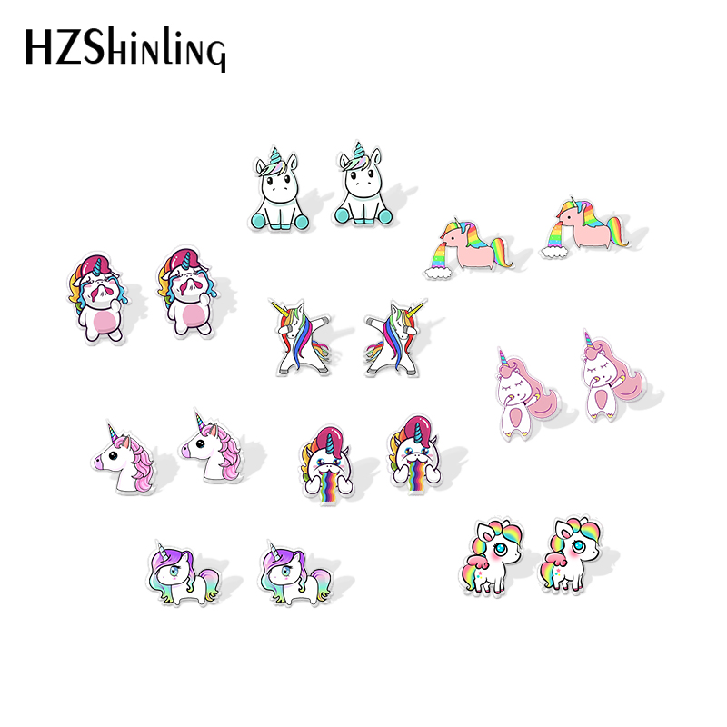 New Fashion Acrylic Earrings Rainbow Dabbing Vomiting Unicorns Shrinky Dinks Earrings Resin Epoxy Sweet Cute Ear Accessories