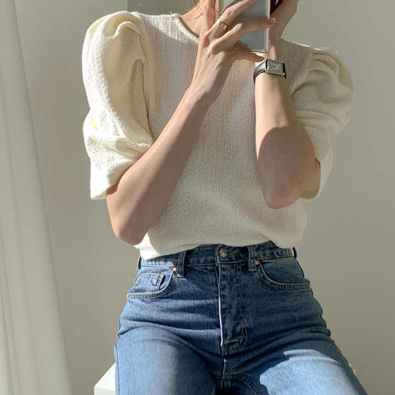 Zomer 2020 Koreaanse Ol Mode Bladerdeeg Mouw Blouses Tops Vrouwen O-hals Solid Vintage Office Casual Basic Dames Shirts Blusas Femme