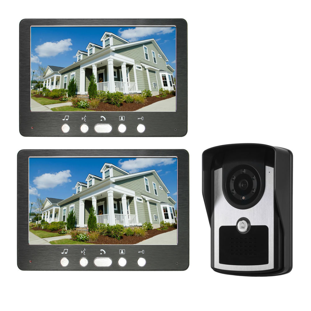 7inch Video Intercom Wired Home Video Door Entry System Waterproof Rainproof IR Night Vision Camera Two-way Audio With 1or2 Moni