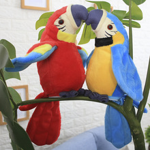 Hot Sale  Speak Talking Record Simulation Parrot Toy Cute Repeats Waving Wings Electric Plush Parrot Macaw Toy Cute Kid Gift