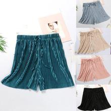 Loose Pleated Sleep Shorts Women High Waist Elastic Solid Color Drawstring Comfort Breathable Sleepwear Bottoms Shorts 2020 New boxed pleated grommet drawstring shorts