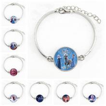 New Cartoon Elsa Anna Snow Queen Bracelet Charm Snow Maiden Crystal Bracelet Jewelry Gift the snow queen