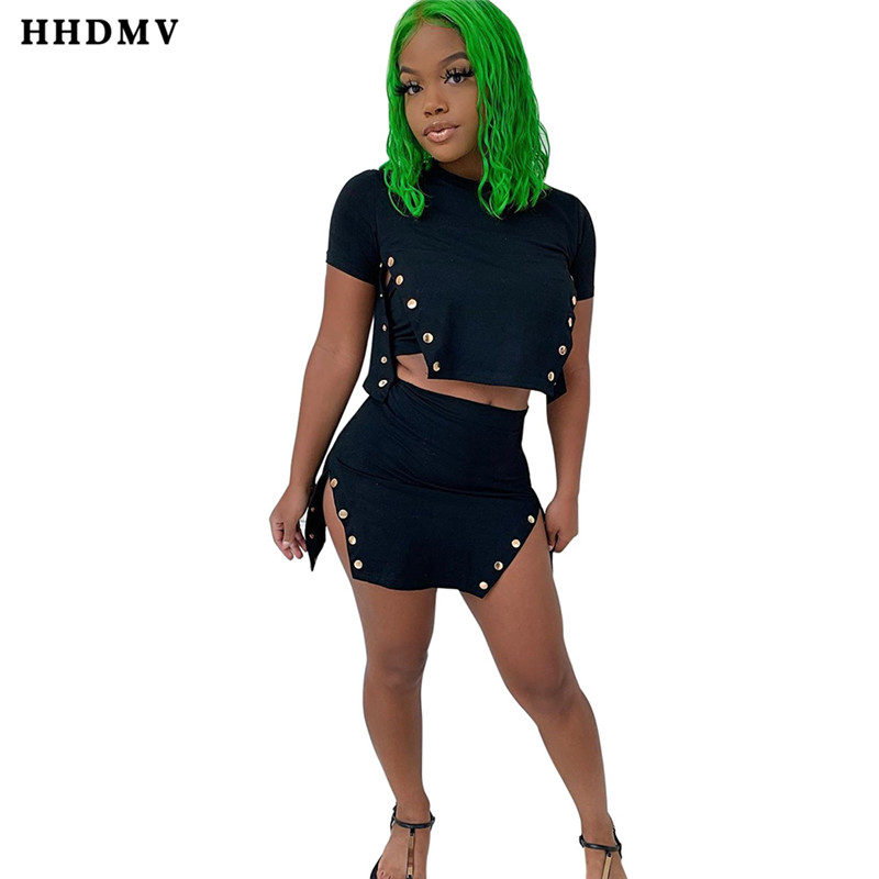 HHDMV QYBX5131 sexy reduction of age hip hop style sets short sleeve round neck short top elastic mini short skirt 2 piece sets