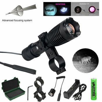 10W IR940nm Zoomable Flashlight Tactical LED Night Vision Infrared Radiation Focus Hunting Torch+18650+Charger+Switch+Mount+Case