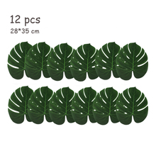 12pcs Artificial Turtle Leaf Table Mat Decor Placemat Simulation Plant Leaves for Hawaiian Tropical Jungle Party Home Decoration
