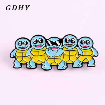 GDHY Pok emon Blue Squirtle squad goals Enamel Pins Jeni-turtle Cool Sunglasses Brooch Lapel Badge Childhood Cartoon Jewelry image