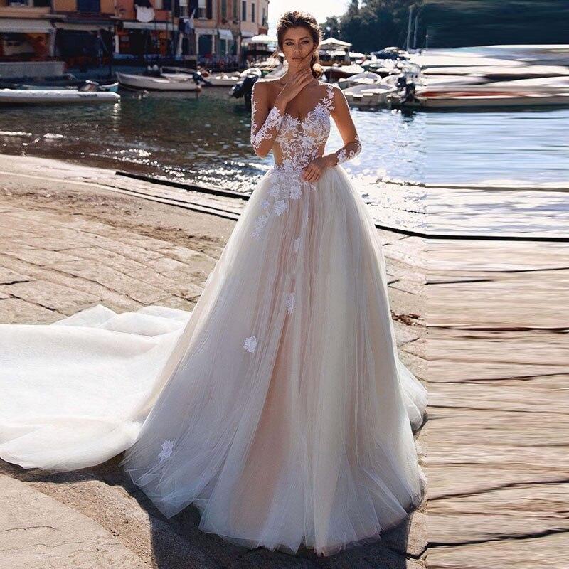 Beach Wedding Dress Lace V Neck Long Sleeve Boho Bride Dresses With Detachable Train Illusion Wedding Gowns Robe De Mariee