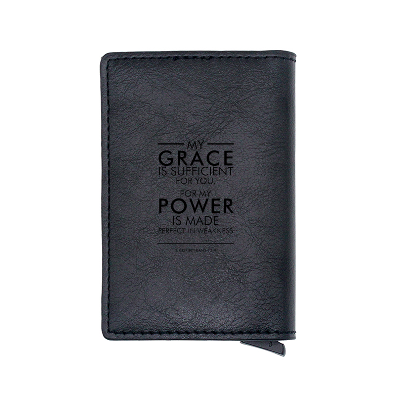 """Bible Quote""""My Grace Is Sufficient For You..."""" Design Card Holder Wallets Men Women Rfid Leather Short Purse"""