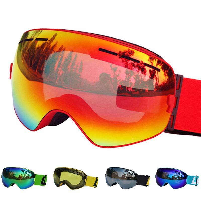 LOCLE Spherical Ski Goggles Anti-fog Double Layers UV400 Big Ski Mask Snowboard Goggles Professional Skiing Glasses Eyewear