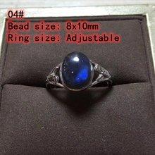 Оригинальное женское кольцо из черного Лабрадорита кошачий глаз
