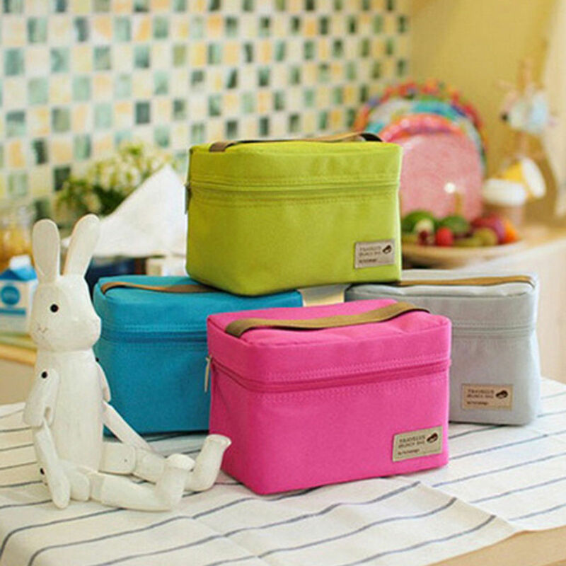 HOT Candy Color Mini Lunch Boxes Picnic Bags Waterproof Lunchbox Outdoor Thermal Cooler Bento Pouch Travel Portable Storage Bags