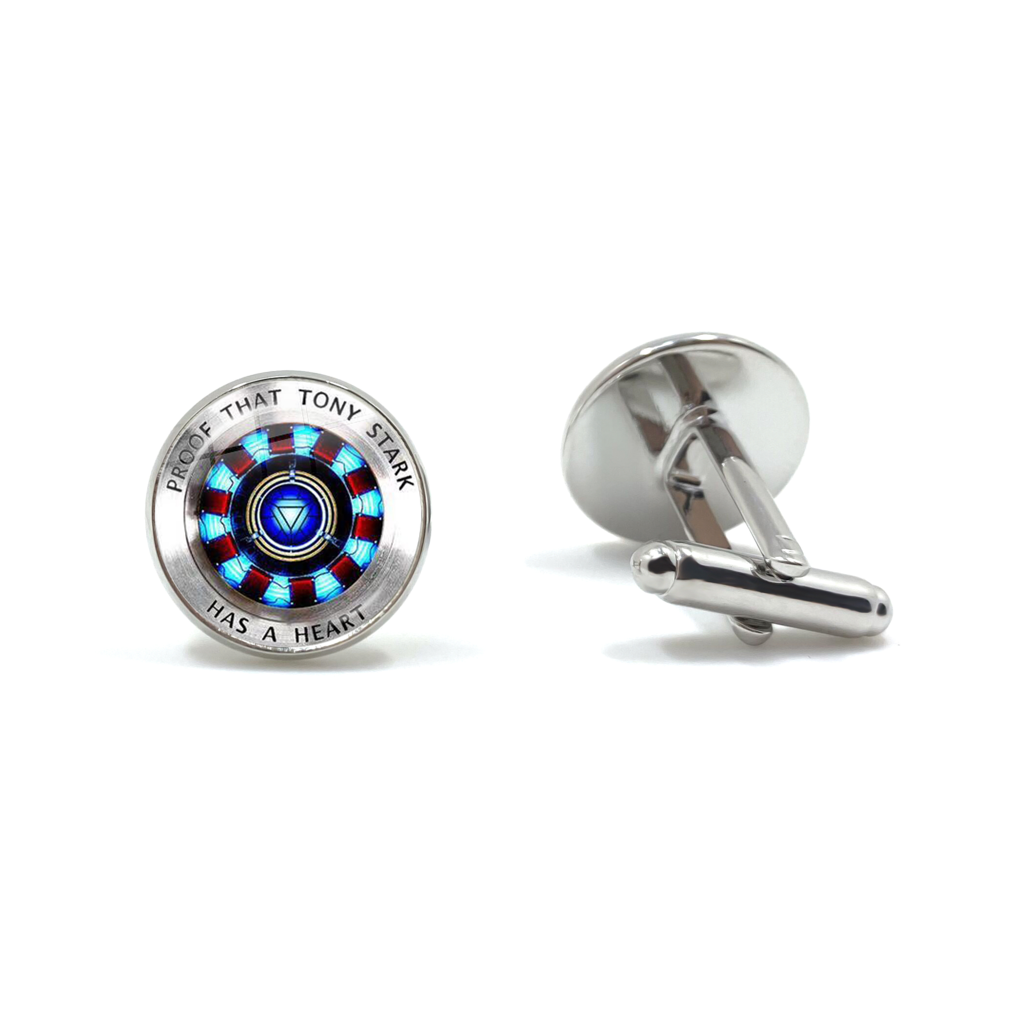 Glass Cabochon Cufflinks Marvel Iron Man Tony Stark Arc Reactor Cuff Buttons The Avengers 4 Endgame Quantum Realm Film Souvenir