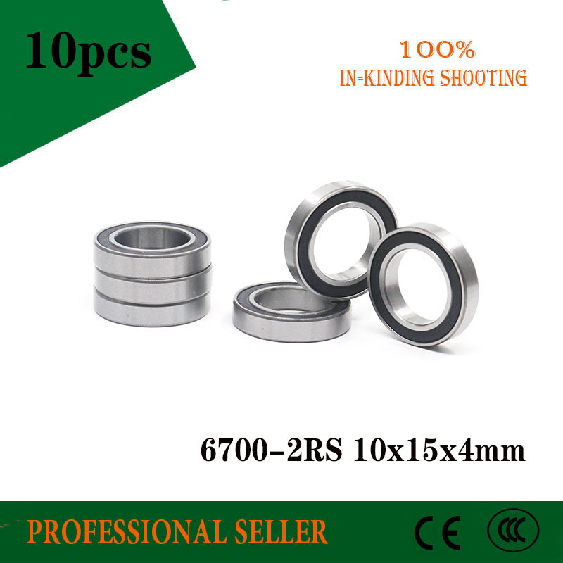 Free shipping 10PCS 6700-2RS 6700 RS 10*15*4mm black double rubber sealing cover chrome steel bearing <font><b>6700RS</b></font> 10x15x4mm image