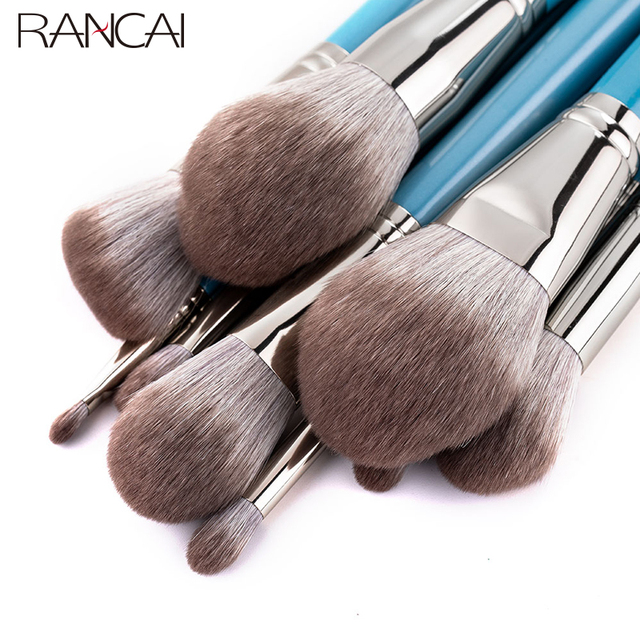 RANCAI 13pcs Makeup Brushes Set  With Leather Bag Foundation Powder Blush Eyeshadow Sponge Brush Soft Hair Cosmetic Tools 5