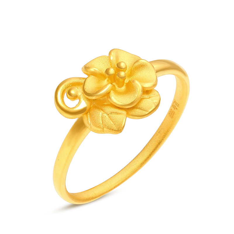 1PCS Real Pure 24K Yellow Gold 3D Peach Blossom Ring Band Women Girl Thin Ring US 5-8